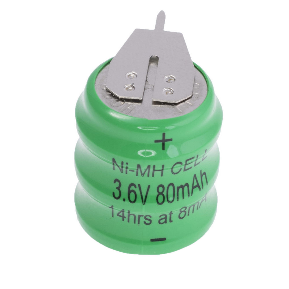 Coin NiMH battery 3.6v 80mAh coin 3S1P + Nickel (size: 16x19.8mm)